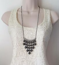 "Gorgeous 34"" long hematite colour - crystal & ball drop chain pendant necklace"