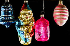 Vintage Early German Glass Christmas Ornaments Birdcage and Banjo Clown