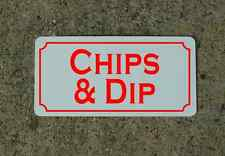 "CHIPS & DIP Metal Signs 6""x12"" Food & Beverage Retro Vintage Design Concession"