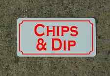 "CHIPS & DIP Metal Signs 6""x12"" Food & Beverage Retro Vintage Design Concession"