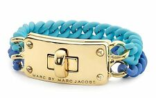 NWOT Marc Jacobs Gold Tone Conch Blue Double Vision Turnlock Bracelet