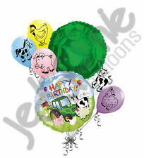 7 pc Barnyard Friends Happy Birthday Balloon Bouquet Party Decoration Farm Cow