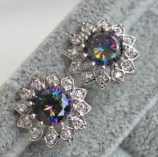 18K White Gold Filled- 7MM MYSTICAL Topaz SunFlower Cocktail Gems Women Earrings