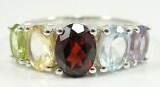 Sterling Silver 5 Stone Mothers Ring Multicolor Gems Graduated Oval Size 9