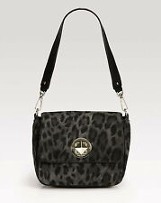Kate Spade Harlow Algonquin Leopard Black Gray ANIMAL SUEDE LEATHER TURNLOCK 595