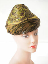 Vintage Ladies Feather Cocktail Hat in Original Box, made in USA, c.1940- 50s