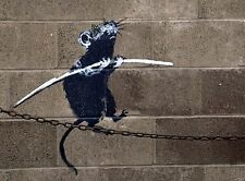 A4 BANKSY ART PHOTO PRINT FOR 99P (BANKSY RAT ON A CHAIN)