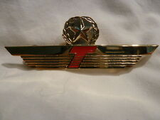 TRUMP AIRLINE Obsolete PILOT WING WITH STAR METAL GOLD RED   ORIGINAL