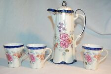 CHOCOLATE SET TEA POT AND 3 CUPS BRIGHT COLORS EXC. CONDITION EST.1828