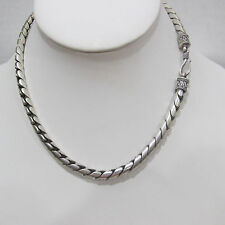 "57Grams 925 Sterling Silver Bali Byzantine Chain Unisex 15"" Necklace Rare Design"