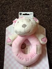 NEXT NEW Baby Girl Pink Rattle Born In 2012 Soft Toy