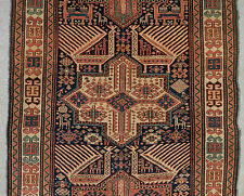 "CLASSIC ANTIQUE CAUCASIAN AKSTAFA ""PEACOCKS"" RUNNER. GRAPHIC. ALL NATURAL DYES"