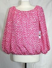 Chaus - S - NWT - Pink & White Geometric Elastic Gather Balloon Sleeve Tunic Top