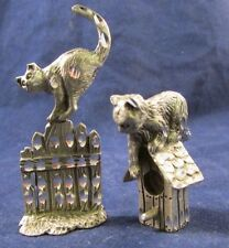 Cuteri Cuter Pewter Cat lot of 2 Cat on a bird House & Cat on a Fence