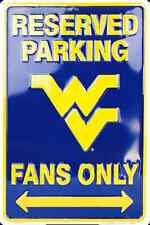 """WEST VIRGINIA MOUNTAINEERS RESERVED PARKING FANS ONLY METAL SIGN MANCAVE 8""""x 12"""""""