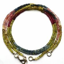 """Super Fine Quality Natural Gem Multi Sapphire Faceted 3MM Beads Necklace 17"""""""