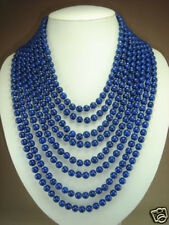 "LONG 100""inch 8MM tibet Natural  Lapis Lazuli Round Gem Beads Necklace"