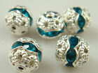 8mm 5pcs Czech Aquamarine Crystal Rhinestone Silver Rondelle Spacer Beads s1