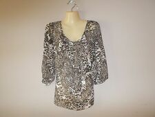 AGB Womens Size L Leopard Print Semi-Sheer Blouse Drape Front