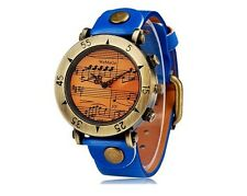 Precioso Reloj Analogico Azul Retro Musica Music Blue Analogic Watch A1866