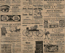 20 Large Sheets ~ Vintage Look ~ Rochester, NY Newsprint Ads ~ Tissue Paper