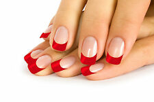12 FRENCH FALSE NAIL TIP CLEAR NAILS WITH RED TIPS IN 10 SIZE + 2 g. GLUE