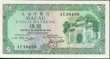 1981 National bank ultramarino macau 5 patacas currency note paper money
