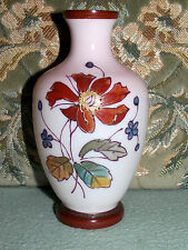 * VERY OLD / VINTAGE * PINKY GLASS & PAINTED FLOWERS VASE * GOOD PONTEL *