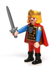 Playmobil Figure Castle Medieval Prince w/ Blonde Hair Red Cape Crown Sword 3345