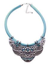 Sublime Chrome Flower & Aqua Blue Diamante Blue Chord Bib Necklace(Ns13)