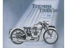 1939 Triumph Tiger 100 500cc motorcycle poster