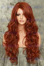 Dark Auburn/Red Mix Long Curly Heat Safe Synthetic Wig HS Boston in T33/130