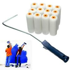 12x 100mm Craft Wall Paint Varnishing Foam Rollers Painter Brush with Handlebar