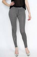 Lady Women Slim Fitted Casual Bodycon Pencil Black White Houndstooth Leggings