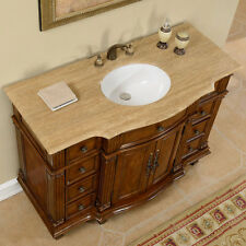 "48"" Gorgeous Travertine Top Ceramic Sink Bathroom Single Vanity Cabinet 277T"