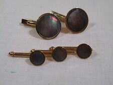 Vintage Swank Black Mother of Pearl Cufflink Shirt Stud Formal Wear Tuxedo Set