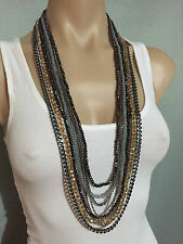 BNWT Autograph Brand Stunning Multi Layer Chain and Beaded Silver/Grey Necklace