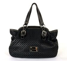 DOLCE & GABBANA Black Laser Cut Grained Leather Frame Satchel Bag