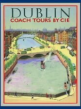 Dublin Ireland Irish Europe European Vintage Travel Advertisement Art Poster