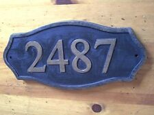 Carved Sign Address Plaque Wood, Brass Finished House Numbers