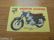 M29 WEERTER LUCIFERS,MATCHBOX LABELS YAMAHA 250 CC MOTORCYCLE