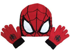 OFFICIAL MARVEL SPIDER-MAN Spiderman Trendy Winter Beanie Hat & Gloves Set 4-8 Y