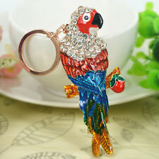 New Arrive Parrot Keyring Rhinestone Crystal Pendant Keychain Bag Christmas Gift