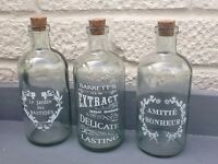 Trio Of Vintage Style Glass Bottles With Cork Stoppers French Style Shabby Chic