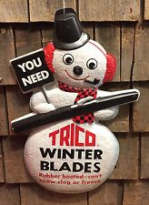 RARE Vintage 60's TRICO Winter Blades Die Cut Snowman Advertising Sign