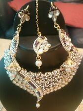 New Bollywood Indian Necklace Earings Tikka Set