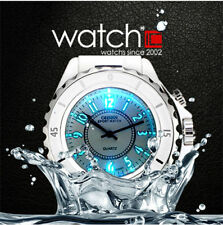 OHSEN Backlight Ladies Women Quartz Analog Sport Watch Plastic White Elegant Hot
