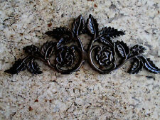 Cast Iron Rose Topper Valance Old World Tuscan Kitchen Wall Plaque Decor Fleur
