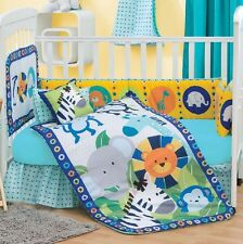 New Baby Boys Elephan JUNGLE DIEGO Blue Aqua Nursery Crib Bedding Set 5 Pieces