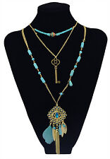 New Design Bohemian Fashion Gold Plated Feather Crystal Tassel Charm Necklace